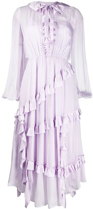 Temperley London Asymmetric Ruffled Midi Dress