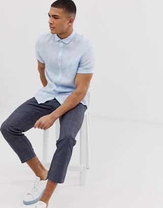 Celio short sleeve linen shirt in blue