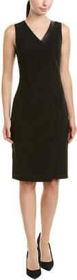 St. John Leather-Trim Sheath Dress