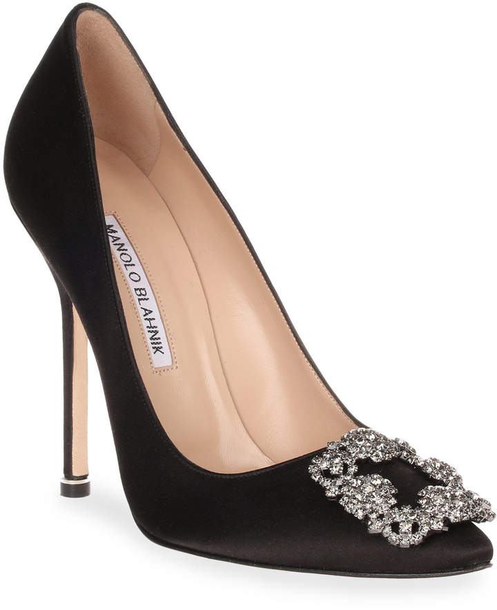 Manolo Blahnik Hangisi 115 black satin pump