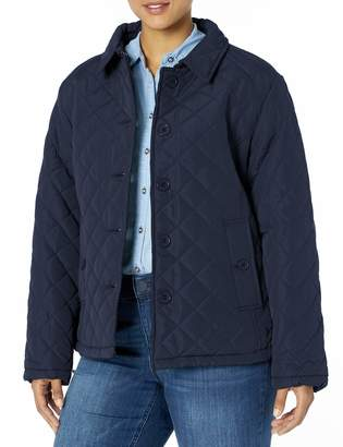 Big Chill Women's Plus Size Diamond Quilted Jacket with Fold Collar