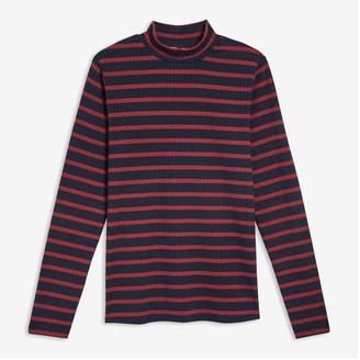 Joe Fresh Women's Stripe Mock Neck Tee, Navy (Size L)