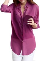 Allegra K Women Dolman Sleeve Side-Slit Chiffon Tunic Shirt