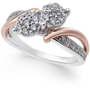 Two Souls, One Love Diamond Anniversary Ring (1/2 ct. t.w.) in 14k White and Rose Gold