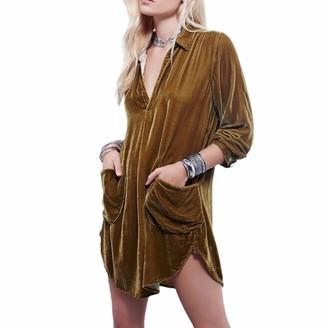 Aniceday Gold Velvet Dress Long-Sleeved V-Neck Top-Ladies Velvet Tunic Swing Casual Mini Shirt Dress Warm Shiny Party