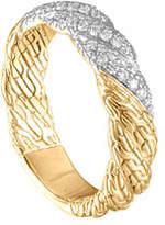 John Hardy Classic Chain Twisted 18k Diamond Band Ring, Size 7