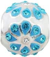 Persona Sterling Silver Aqua Petals Charm fits Pandora, Troll & Chamilia European Charm Bracelets