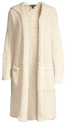 Eileen Fisher Hooded Longline Wool Blend Cardigan Sweater