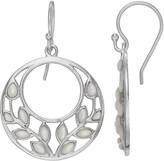 Sterling Silver Mother-of-Pearl Leaf Hoop Drop Earrings