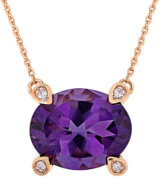 Rina Limor Fine Jewelry 10K Rose Gold 2.42 Ct. Tw. Diamond & African Amethyst Station Necklace