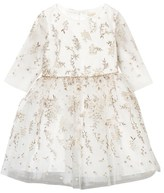 David Charles Ivory and Gold Embroidered Tulle Dress