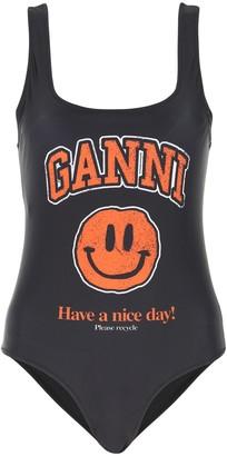 Ganni Signature Smiley Graphic Print Swimsuit