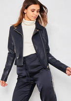 Missy Empire Sydney Navy Faux Leather Biker Jacket