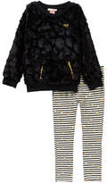 Juicy Couture Faux Fur Tunic & Heart Glitter Print Striped Leggings Set (Little Girls)