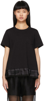 Sacai Black Lace Ruffle T-Shirt