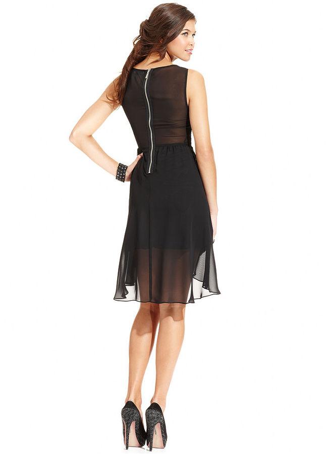 B. Darlin Juniors Dress, Sleeveless Sequin High-Low