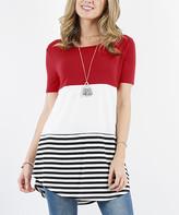 Lydiane Women's Tunics DKRED - Dark Red Stripe Color Block Short-Sleeve Curved-Hem Tunic - Women