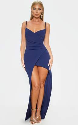 PrettyLittleThing Midnight Blue Wrap Front Crepe Maxi Dress