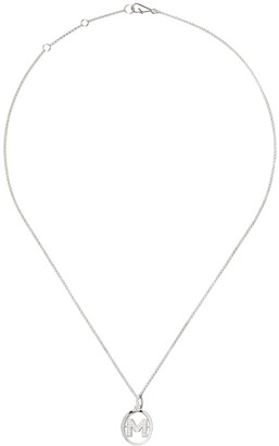Annoushka 18kt white gold diamond initial M necklace