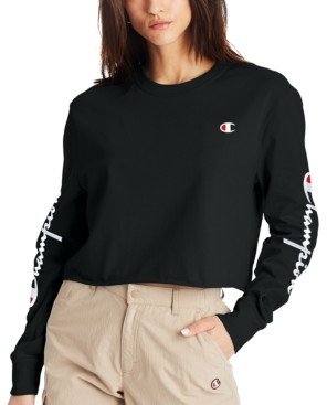 Champion Cotton Long-Sleeve Cropped T-Shirt