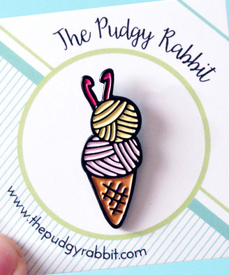 The Pudgy Rabbit Brooches and Pins - Crochet Cone Enamel Pin