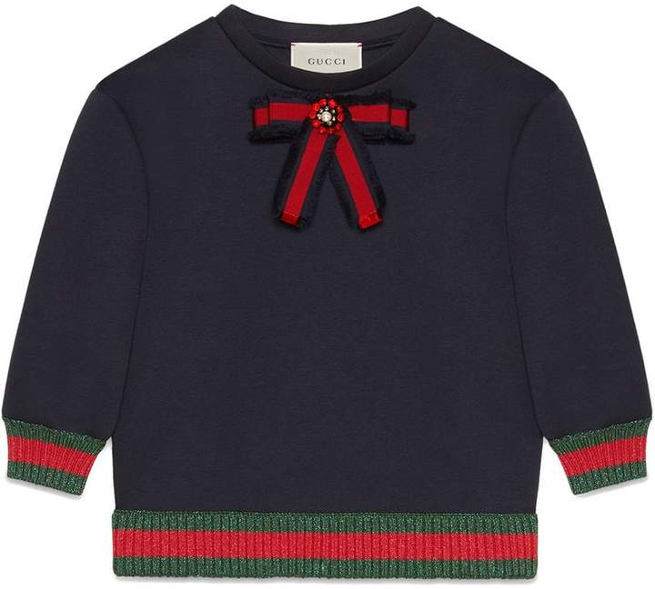 Gucci Kids Children's jersey sweatshirt with bow