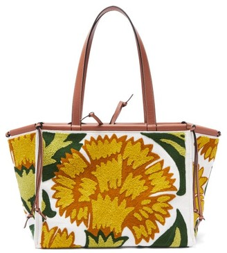Loewe Cushion Large Floral-applique Canvas Tote - Yellow Multi