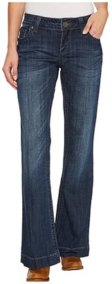 Stetson Pieced Back Pocket w/ Jagged Edge Detail (Blue) Women's Jeans