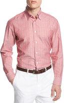 Brioni Cotton-Linen Striped Shirt, Red