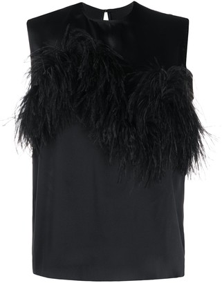 Marques Almeida Feather Trimmed Sleeveless Blouse