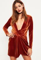 Missguided Orange Velvet Wrap dress