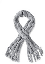 Classic Women's Chunky Cable Scarf-Oxford Blue