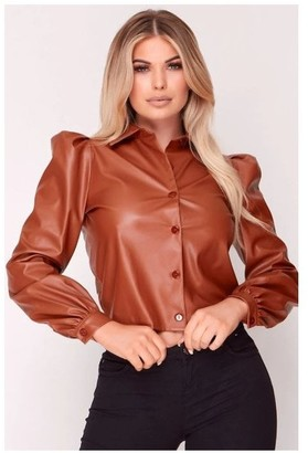 Hachu Brown Faux Leather Puff Shoulder Shirt