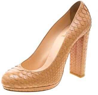 Christian Louboutin Beige Python Leather Block Heel Pumps Size 39.5