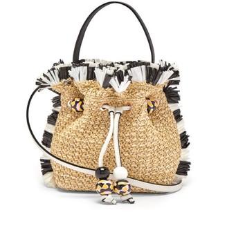 Sophia Webster Emmie Fringed Raffia Bucket Bag - Womens - Beige Multi