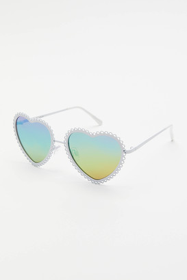 Urban Outfitters Lacey Metal Heart Sunglasses