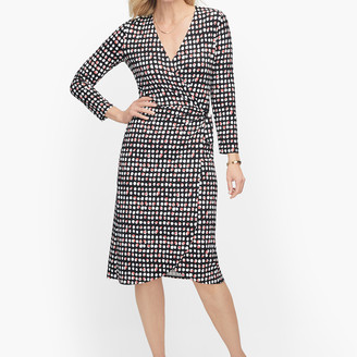 Talbots Knit Jersey Faux Wrap Dot Dress