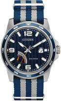 Citizen Men's Eco-Drive Sport Blue and Gray Nylon Strap Watch 41mm AW7038-04L
