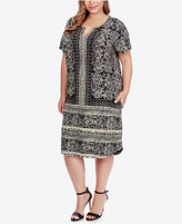 Lucky Brand Trendy Plus Size Scarf-Print T-Shirt Dress