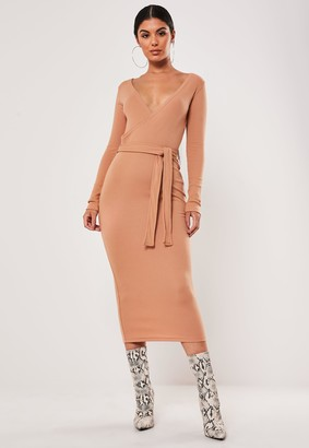 Missguided Tan Ribbed Wrap Front Tie Belt Midi Dress