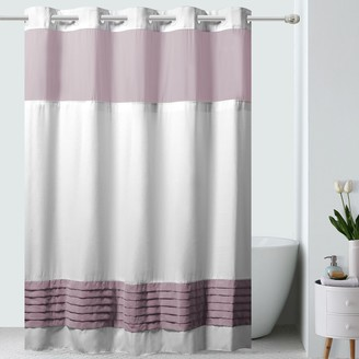 Hookless Color Block Shower Curtain & Fabric Liner