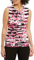 Calvin Klein Petites Digital Stripe Print Pleat Neck Matte Jersey Shell
