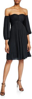 Halston Off-Shoulder Sweetheart Pleated Dress