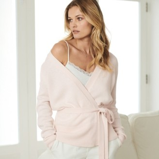 The White Company Wrap-Front Cardigan with Cashmere, Soft Rose, 8