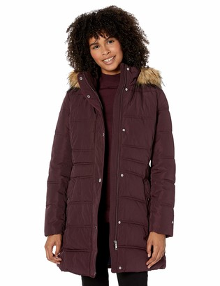 Tommy Hilfiger Women's Mid Length Puffer Jacket with Faux Fur Trimmed Hood