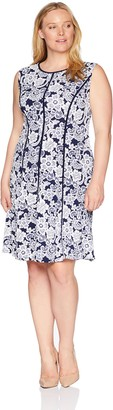Sandra Darren Women's Plus Size 1 PC Sleeveless All Over Printed ITY Puff Fit & Flare Dress