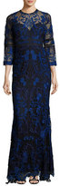 Marchesa 3/4-Sleeve Floral Lace Gown, Navy