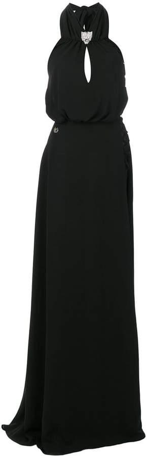 Philipp Plein embellished panther halterneck dress