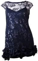 Jessica Simpson Women's Sequined Cap Sleeve Ruffle Hem Dress (14, Navy)