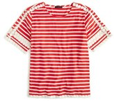 J.Crew Women's Lace Embroidered Stripe Top